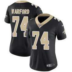 Women s Nike New Orleans Saints  74 Larry Warford Limited Black Team Color  NFL Jersey Nike 72d86a692