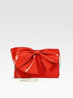 Valentino - Patent Leather Bow Clutch -