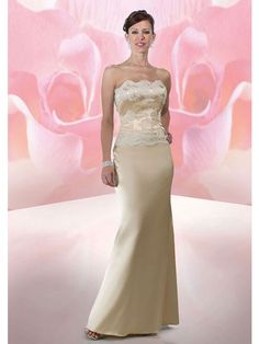 Sheath Strapless Lace Ankle-length Satin Mother of the Bride Dresses
