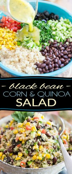 quinoa recipes Inspired by my favorite Lebanese restaurant, this extremely simple but super tasty Black Bean Corn and Quinoa Salad goes good with just about anything and is just as enjoyable any time of the year! Healthy Recipes On A Budget, Vegetarian Recipes Dinner, Healthy Soup Recipes, Appetizer Recipes, Beans Recipes, Healthy Black Bean Recipes, Healthy Beans, Vegetarian Grilling, Soup Appetizers