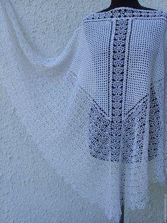 Купить Шаль ажурная Шаль вязаная Шаль Королева - белый, однотонный, шаль вязаная
