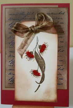 Gumnut Brush 3745E & Handwriting background by Stamp-It. Card by Susan of Art Attic Studio