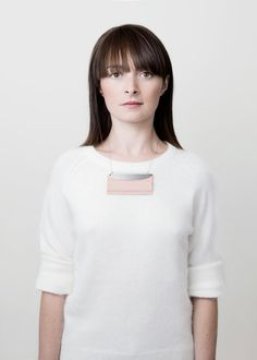 JZ2 / geometric light pink leather and metal necklace.