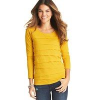 Petite Tiered Long Sleeve Tee - In a bevy of must-have hues, this cotton modal essential – starring chic asymmetrical layers down the front – is an everyday delight. Scoop neck. Long sleeves. Solid back. Banded neckline.