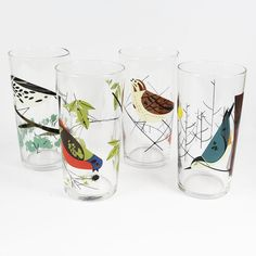 The Charley Harper Bird Glasses Set of 4 by Todd Oldham are sure to brighten up any table.- have to break 4 glasses before I buy Charley Harper, Table Top Dishwasher, Bird Theme, Vintage Drawing, Vintage Birds, Pretty Birds, Bird Prints, Botanical Prints, Bird Art