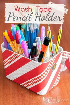 Washi Tape Pencil Holder - Easy organization