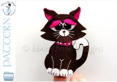 Felt Cat Finger Puppet Pattern.  INSTANT DOWNLOAD.  by EbonyShae