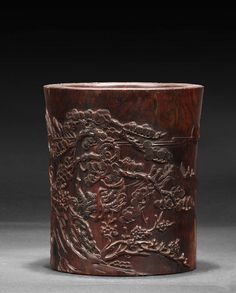 CARVED HUANGHUALI BRUSH POT, Qing Dynasty period. Dimensions: H: 7 1/4 in (18.1 cm) W: 6 1/4 in