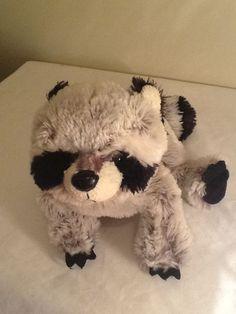 "2007 Ganz Webkinz RACCOON Plush Stuffed Animal Grey Black NO CODE Retired 8"" #Webkinz"