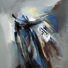 Grey-Blue Painting Abstract Painting Modern Painting by Artoosh