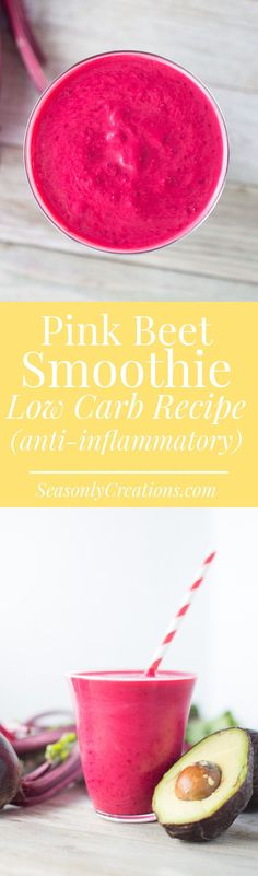 Pink Smoothie Recipe. This low carb smoothie recipe is full of antioxidant and anti-inflammatory properties, and is made with nutritious beets! If you're following a low carb or keto diet and miss having smoothies, you'll definitely want to try this smoothie out! #keto #ketodiet #lowcarbdiet #lchf #smoothies #smoothierecipe #healthyrecipe #breakfastrecipe #healthybreakfast #weightloss #weightlossrecipe #avocado Pink Smoothie Recipe, Beet Smoothie, Smoothie Recipes, Low Carb Summer Recipes, Healthy Low Carb Recipes, Low Carb Desserts, Vegetarian Snacks, Healthy Snacks, Anti Inflammatory Smoothie