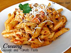 Creamy Sausage and Tomato Pasta Recipe.  so easy.