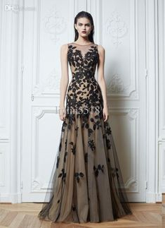 Sexy Zuhair Murad Crew Neck Prom Dresses /Lace Black /Tulle /Nude Color Chiffon /Floor-Length