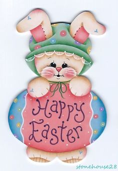 HP BUNNY Happy Easter FRIDGE MAGNET #Handpainted