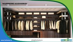Closet and Wardrobe Designs. Modern stylish brown walk-in closet design with wooden wall-mounted shelves for nice saving-space ideas for clothes, shoes and accessories storage. Fancy Dream Home Interior Walk-in Closet Designs Walk In Closet Design, Wardrobe Design, Closet Designs, Walking Closet, False Ceiling Design, False Ceiling Living Room, Master Bedroom Closet, Bedroom Closets, Master Bedrooms