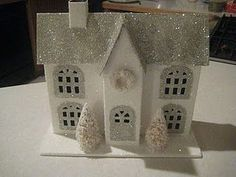 glitter little houses tutorial, white and silver