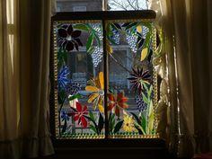 glass mosaics on old window@treesa207