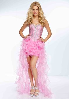Buy 2014 High Low Prom Dress Beaded Bodice A Line With Ruffled Organza  Skirt Online 76471719f97