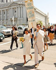wedding march from reception to ceremony venues. love it.