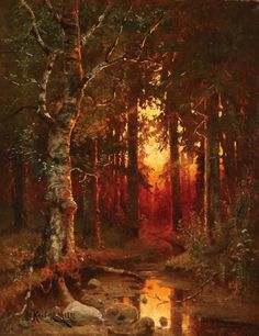 "JULIUS KLEVER(Russian 1850-1924) Wooded Landscape at Dusk""1892"""