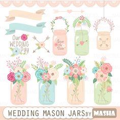 "Mason jar clipart: ""WEDDING MASON JAR"" with mason jar clip art, floral bouquets…"