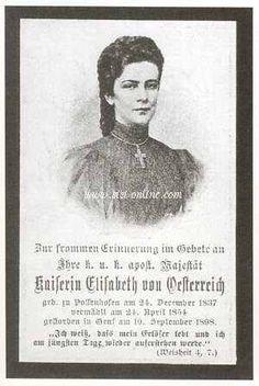 Biglietto di memoria alla morte di Elisabetta I d' Austria (Sissi) Memorial of Sissi