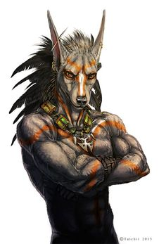 Rak by Tatchit gnoll dog jackal humanoid ranger fighter barbarian armor clothes clothing fashion player character npc | Create your own roleplaying game material w/ RPG Bard: www.rpgbard.com | Writing inspiration for Dungeons and Dragons DND D&D Pathfinder PFRPG Warhammer 40k Star Wars Shadowrun Call of Cthulhu Lord of the Rings LoTR + d20 fantasy science fiction scifi horror design | Not our art: click artwork for source: