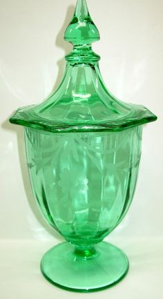 Vintage Depression Art Green Glass CANDY JAR by Snowyowltreasures, $60.00