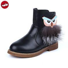 Mädchen Stiefeletten Nette Tier Plüsche Reißverschluss Winter Schneestiefeln pastry Schuhe Schwarz 30 EU (*Partner-Link)
