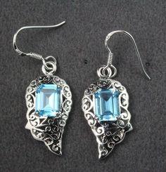 7.50 cts Natural Swiss Blue Topaz Earrings Handmade 925 Sterling Silver #Handmade #DropDangle
