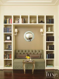 Looking for design ideas and tips? Luxe Interiors + Designs has a huge library of the latest trends in luxurious home designs from across the United States. Built In Bookcase, Bookshelves, Bookshelf Styling, Hill Interiors, Design Interiors, Family Room Design, Transitional Decor, House Design, Design Design