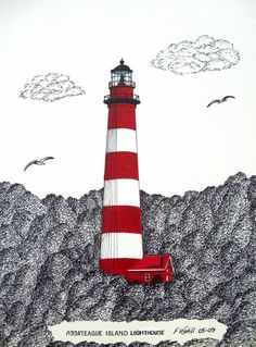 Assateague Island Lighthouse Drawing Greeting Card