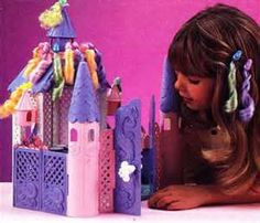 I never wanted the doll or the castle.but I wore my hair clips weekly in the first grade! 90s Childhood, Childhood Memories, Fairytale Bedroom, Lady Lovely Locks, Doll Toys, Dolls, Blue Tail, Swing And Slide, Purple Bird