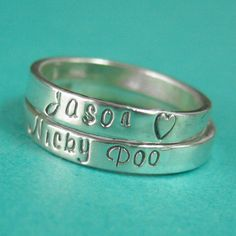 Stacking Name Ring in Sterling Silver - Custom Personalized Ring. $40.00, by Spiffing Jewelry