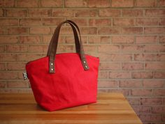 Waxed Canvas Zipper Tote in Red Small Vegan Day Bag by solaWu