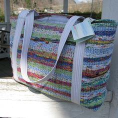 handwoven tote bag, traditional weavers, rag wug weaving, handwoven by Kathie Roig - Simple, pretty, and functional