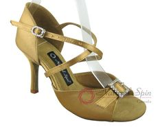 Natural Spin Signature Latin Shoes(Open Toe, Adjustable):  H1112-02_GoldES