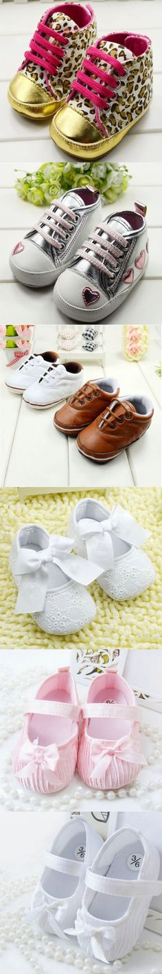 Infant Toddler Baby Shoes Kids Girls Laces Ribbon Bowknot Crib Shoes Soft Walker