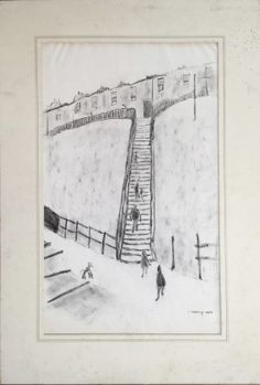 LS Lowry Graphite Large Line Drawing Hand Signed Vintage Urban Scene. http://eaglefineart.co.uk/product/ls-lowry-graphite-large-line-drawing-hand-signed-vintage-urban-scene/ #Lowry #eaglefineart