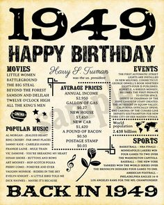1949 Fun Facts 1949 Birthday Poster for Husband Gift for Happy Birthday Dad, 70th Birthday Parties, Husband 30th Birthday, 80th Birthday Decorations, 70 Birthday Cards, Birthday Quotes, 30th Anniversary Gifts For Parents, 70th Birthday Ideas For Mom, 70th Birthday Party Ideas For Mom
