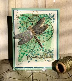 2017  Stamps:  Dragonfly Dreams, Gorgeous Grunge (splat) Tools 'N Embellishments:  Detailed Dragonfly Thinlits  Dies, Gold Baker's Twine, Gold Embossing Powder, Clear Wink of Stella, Dazzling Diamonds
