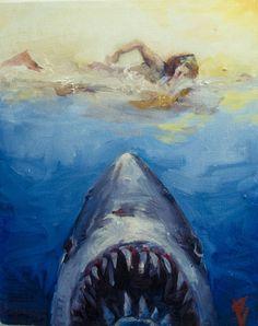 Jaws  #shark #selfpotrait #painting#art