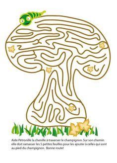 DONE! 2014 ~ jeu de labyrinthe dans une champignon : aide la chenille a ramasser les petites feuilles et les ramasser avec les grosses feuilles au pied du champignon! Craft Projects For Kids, Arts And Crafts Projects, Printable Mazes, Free Printables, Spot The Difference Kids, Best Memories, Preschool Activities, Holiday Fun, Free Design