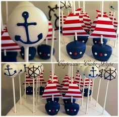 Baby Birthday birth -Sea Baby Birthday birth - I found this on Nautical Whale & Anchor Cake Pops ~ NutMeg Confections Nautical baby shower sail boat birthday by Capricciocakepops Forminhas e Toppers Marinheiro Baby Shower Boho, Baby Shower Cake Pops, Shower Bebe, Baby Shower Favors, Baby Boy Shower, Sailor Baby Showers, Pop Baby Showers, Boy Baby Shower Themes, Nautical Cake Pops