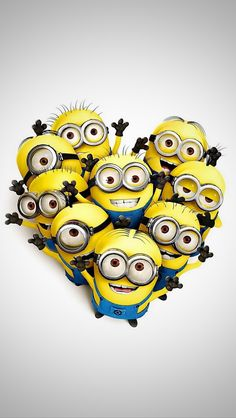 Aww so cute:) heart shaped minions for despicable me!