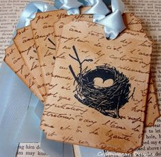 Shabby Chic Birds Nest Gift Tags/Labels SET of by craftypagan, $7.90