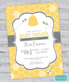 BUMBLE BEE BABY SHOWER INVITATIONS Baby Shower Invitation Bee and Honey Comb Bumble Bee Baby Shower Invitation Beehive Invitation DIGITAL PRINTABLE
