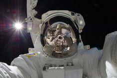 2. Japanese Astronaut Aki Hoshide snaps a selfie.