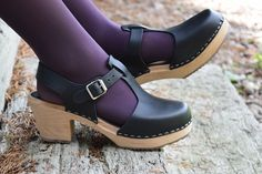 Swedish Clogs Highwood T-Bar Black Leather by Lotta from Stockholm / Wooden Clogs / Sandals / High Heel / Mary Jane Shoes Leopard Espadrilles, Espadrille Sneakers, Sneaker Heels, Slip On Sneakers, Wooden Sandals, Wooden Clogs, Socks And Sandals, Clog Sandals, Lotta Clogs