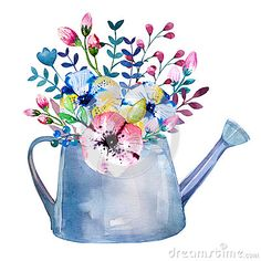 Watercolor bouquets of flowers in pot. Rustic